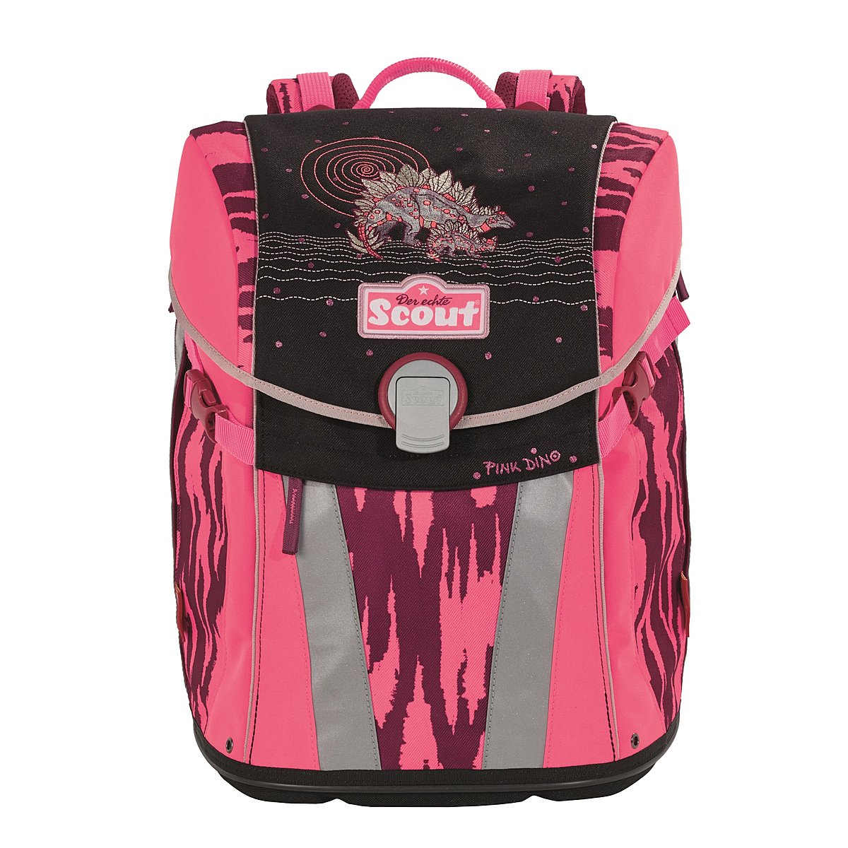scout schulrucksack sunny pink dino f r die grundschule. Black Bedroom Furniture Sets. Home Design Ideas