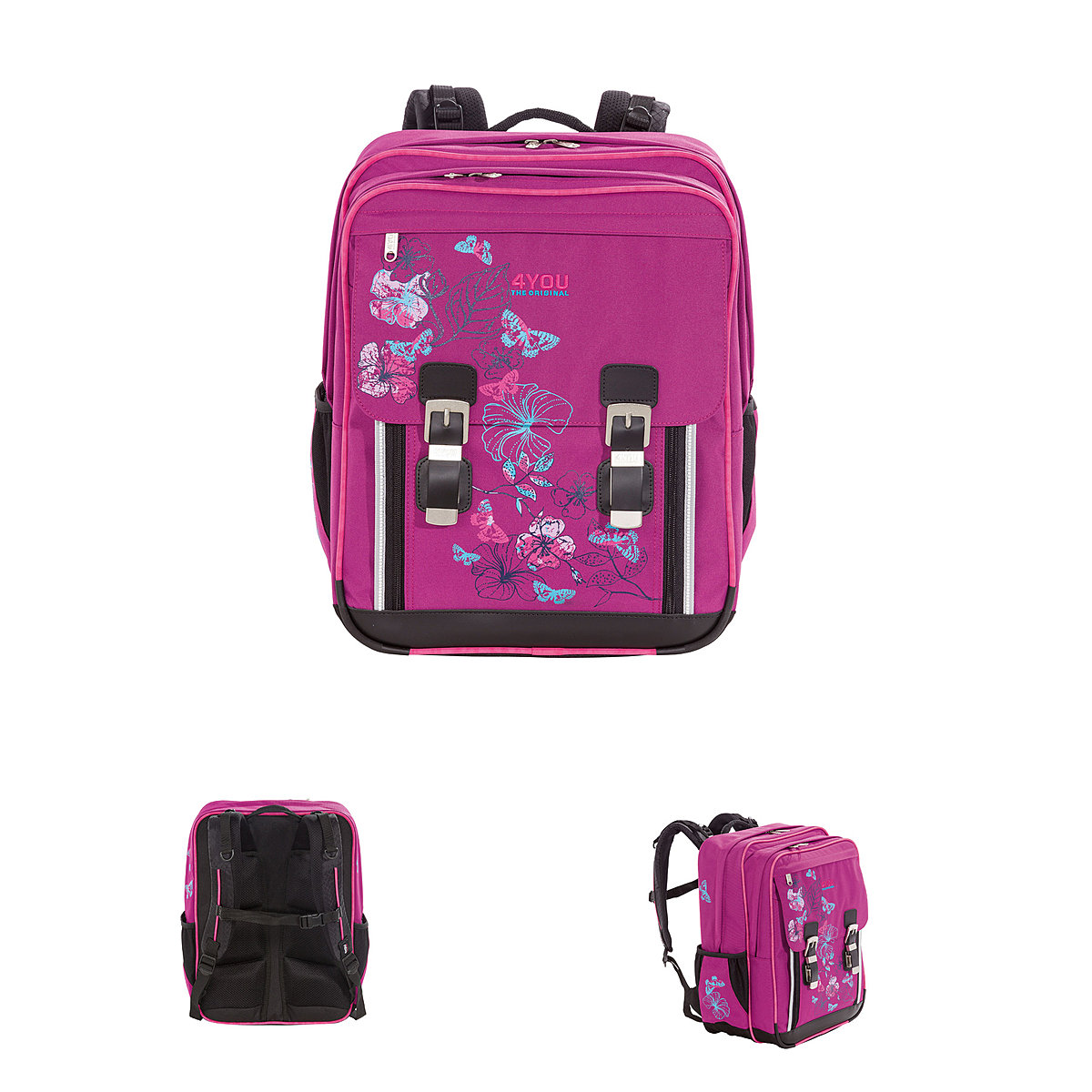 4you schulrucksack classic plus 163 butterfly flowers. Black Bedroom Furniture Sets. Home Design Ideas