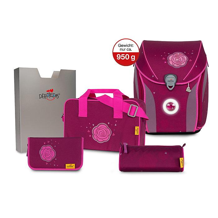 DerDieDas Ergoflex Max LED Glitter Rose Schulranzen Set