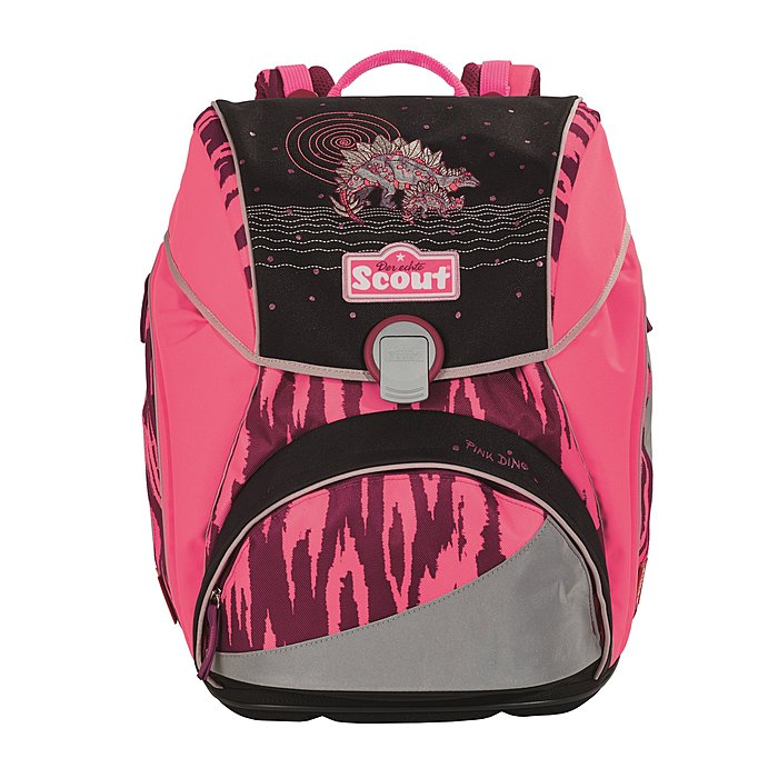 scout schulrucksack alpha pink dino f r die grundschule. Black Bedroom Furniture Sets. Home Design Ideas