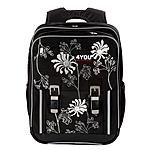Schulrucksack Classic Plus 4YOU White Flower Black and White