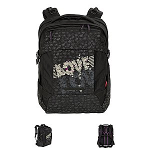 4YOU Flash 47 Rucksack Tight Fit Love is all, schwarz grau