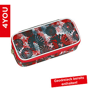 4YOU Pencil Case mit Geodreieck Circles, rot mit Blumenmuster