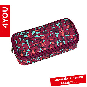 4YOU Pencil Case mit Geodreieck Geometric Red 331, rot