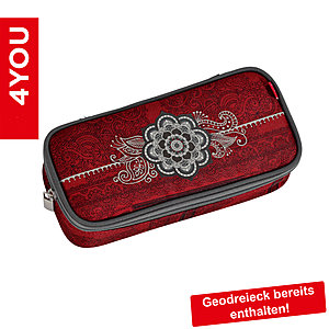 4YOU Pencil Case mit Geodreieck Henna Tatoo, rotes Tribaldekor