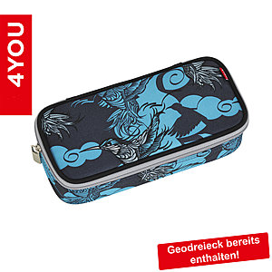 4YOU Pencil Case mit Geodreieck Kolibri 335, schwarz türkis