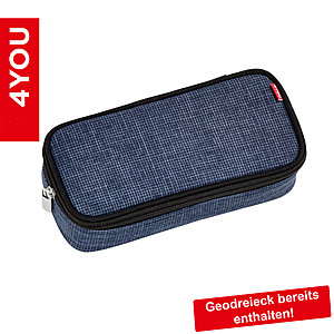 4YOU Pencil Case mit Geodreieck Pixel Blue
