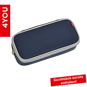 4YOU Pencil Case mit Geodreieck Power Blue, dunkelblau