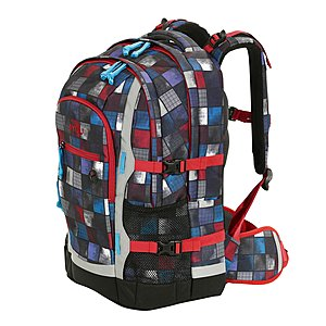 4YOU Schulrucksack Jump Squares Blue Red, 30 L Volumen und Laptopfach