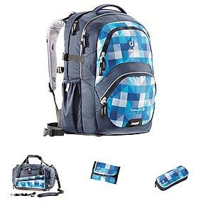 Ypsilon Schulrucksack blue arrowcheck, 4 tlg. Schul-Set