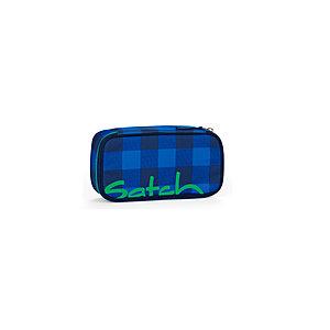 Satch Schlamperbox mit Geodreieck Bluetwist, blau grau kariert