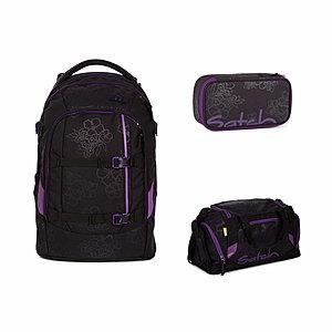 Satch Pack Purple Hibiscus 3 tlg. Set inkl. Sporttasche