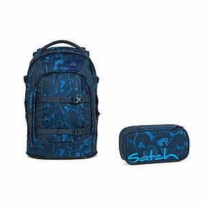 Satch Pack Blue Compass Schulrucksack Set 2tlg
