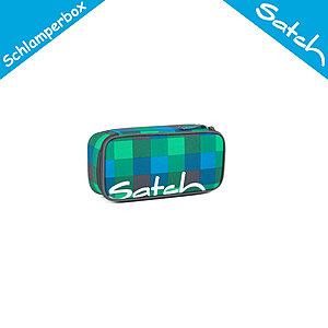 Satch Schlamperbox inkl Geodreieck Hip Flip, Multikaro blau grün