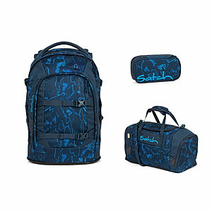Satch Pack Blue Compass Schulrucksack Set 3tlg