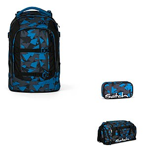 Satch Pack Blue Triangle 3tlg. Schulrucksack Set