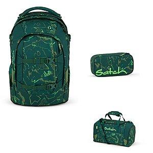 27dae1f3d5996 Satch Pack Green Compass Schulrucksack Set 3tlg