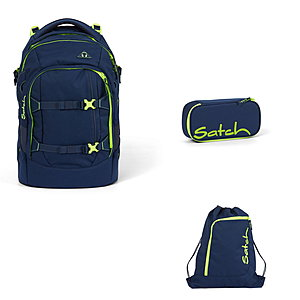 Satch Pack Toxic Yellow 3tlg Schulrucksack-Set
