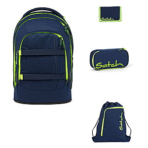 Satch Pack Toxic Yellow 4tlg Schulrucksack-Set