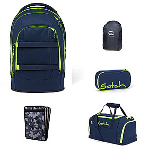 Satch Pack Toxic Yellow 5tlg Schulrucksack-Set