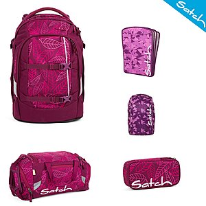 1e05ad9673184 Satch Schulrucksack Pack Purple Leaves 5 tlg. Set