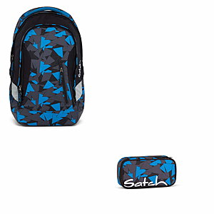 Satch Sleek Blue Triangle Rucksack Set 2tlg.