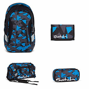 Satch Sleek Blue Triangle Rucksack Set 4 tlg.