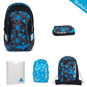 Satch Sleek Blue Triangle Rucksack Set 5 tlg.