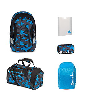 Satch Sleek Blue Triangle Rucksack Set 5 tlg