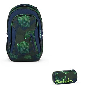 Satch Sleek Infra Green Schulrucksack Set 2tlg