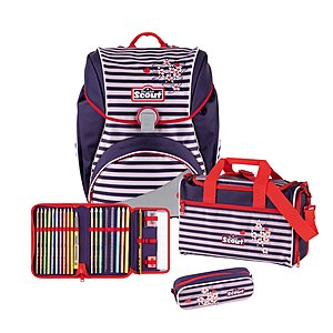 Scout Alpha Happy Stripes 4 tlg. Schulranzen-Set