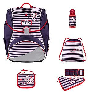 Scout Alpha Happy Stripes 5 tlg. Schulranzen-Set