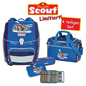 Scout Schulrucksack Genius Country Fields 4 teiliges Set