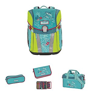 Scout Schulrucksack Sunny Happy Dolphins, 4 teiliges Set