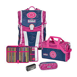 Scout Sunny Pink Mandala Safety Light Schulranzenset 4 tlg.