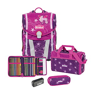 Scout Sunny Unicorn Star Safety Light Schulranzenset 4 tlg.