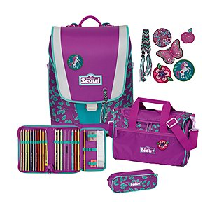 Scout Ultra Lilac Leaves 4 tlg. Set Schulranzen-Set