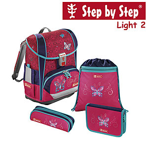 Step by Step Light2 Butterfly Dancer, 4 tlg Schulranzen Set