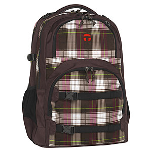 Take it Easy Schulrucksack Oslo-Flex Plaid, braun pink kariert
