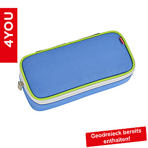 4YOU Pencil Case mit Geodreieck Sporty 301, blau weis grün