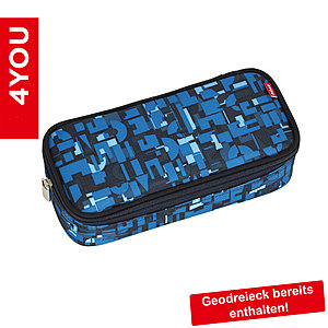 Pencil Case mit Geodreieck Geometric Blue 312, blau