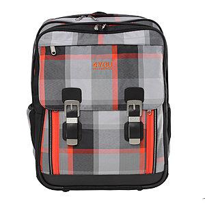 Schulrucksack Classic Plus Squares Grey/Orange