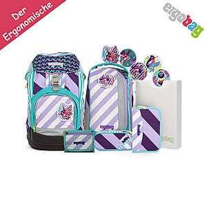 ergobag Pack Schulrucksack ÜBärflieger, 7tlgs Set Stripes Edition